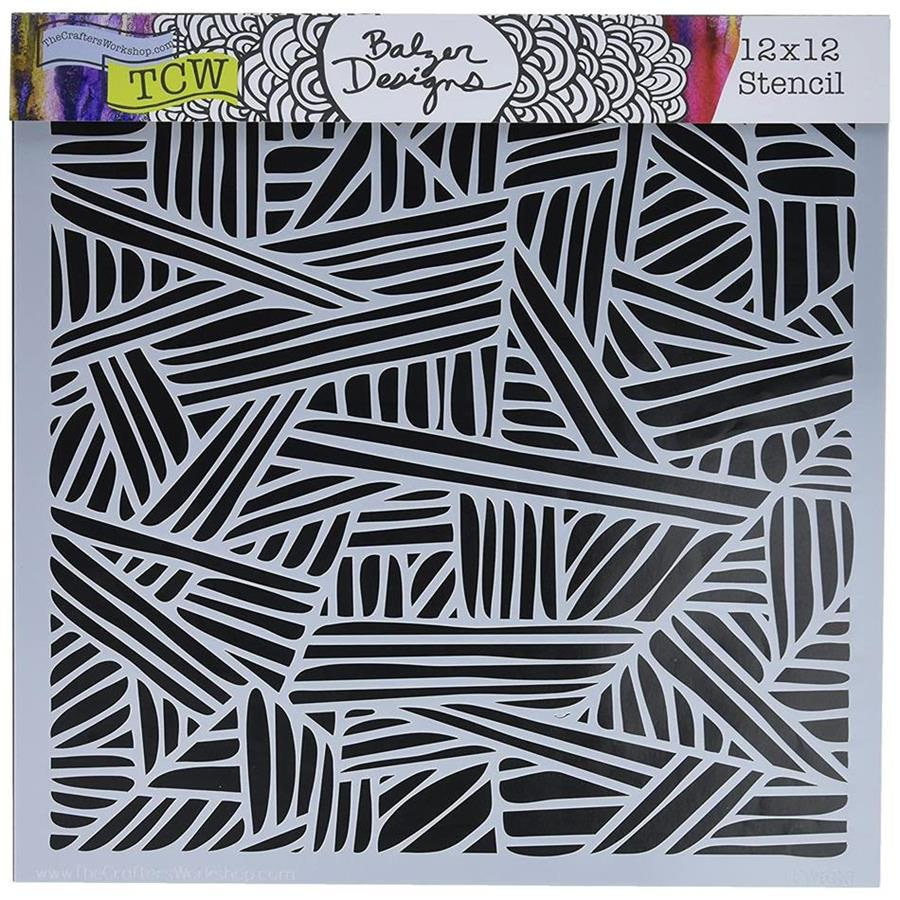 TCW600 Overlapping Stripes Stencil 12x12