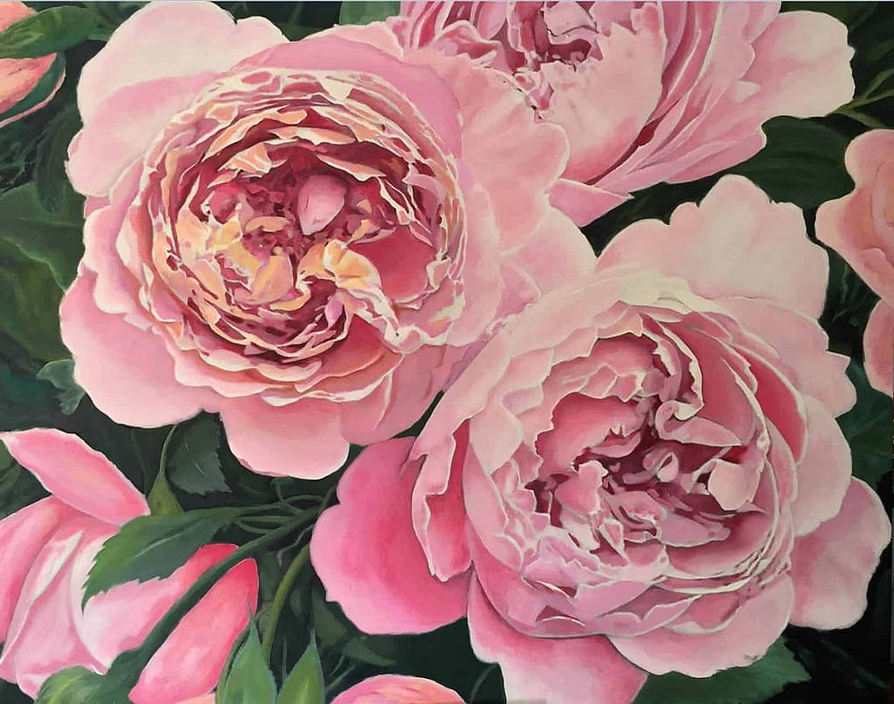 David Austin Roses Flower Painting by Tracy Saywell