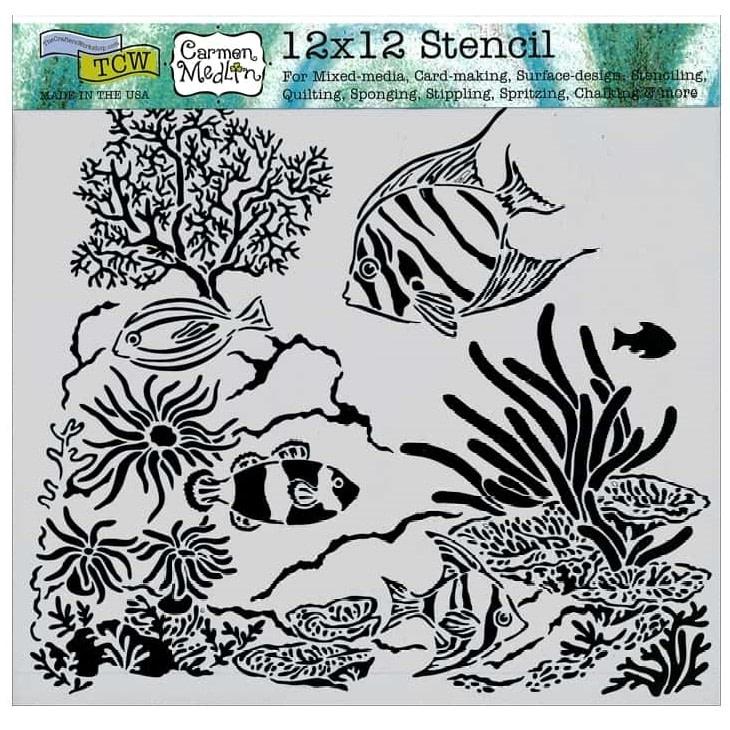 TCW611 Aquarium Stencil 12x12